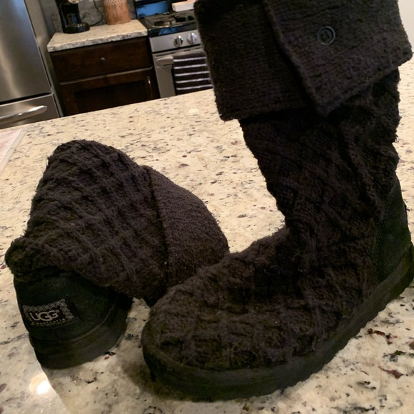 UGG Shoes | Black Knit Ugg Boots | Poshmark